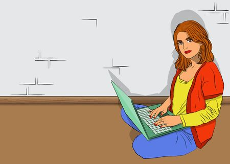 Pop Art Businesswoman working from home - comic book style, cartoon woman with a laptop. Freelance woman work in comfortable