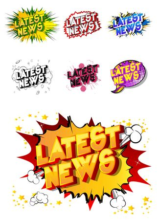 Latest News - Comic book style word on abstract background. Ilustracja