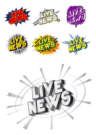 Live News - Comic book style word on abstract background.