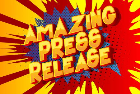 Amazing Press Release - Comic book style word on abstract background. Ilustrace