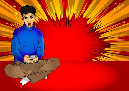 Portrait of happy young caucasian positive excited man sitting on a floor with legs crossed and using mobile phone. Comic book style,