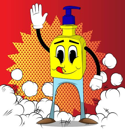 Cartoon Bottle of hand sanitizer gel with face waving hand. Funny Expressions vector.