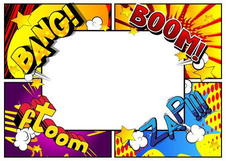Vector pop-art style comic book page template background with explosions, halftone effects and rays. Vektorgrafik