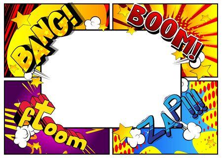 Arrière-plan du modèle de page de bande dessinée de style pop-art vectoriel avec des explosions, des effets de demi-teintes et des rayons. Vecteurs