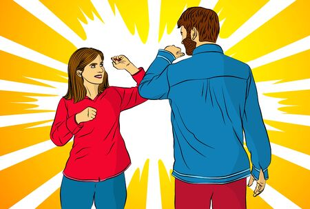 Elbow bump. New greeting instead a handshake or hug to avoid the spread of a virus. A man and a woman meet. - comic book style, cartoon vector illustration. Stok Fotoğraf - 149835472