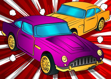 Comic book style, cartoon vector illustration of a cool sports car. Stock Illustratie
