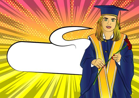 Happy cute caucasian grad girl. Wearing a blue mortar board, with yellow tassel, in gown, holding flower in hand - comic book style,