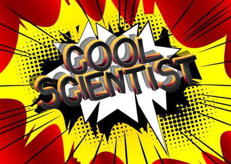 Cool Scientist Comic book style cartoon words. Text on abstract background.