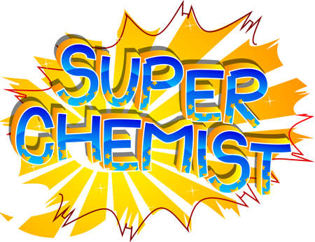 Super Chemist Comic book style cartoon words. Text on abstract background.