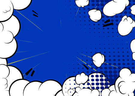 Cartoon design colored background. Comic book backdrop illustration with cloud. Pop art vector comics wallpaper. Иллюстрация
