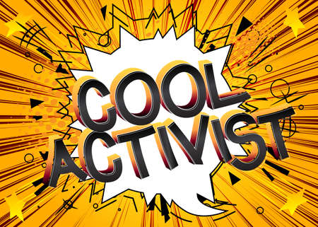 Cool Comic book style cartoon words on abstract comics background.