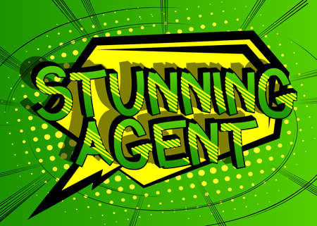 Stunning Agent Comic book style cartoon words on abstract comics background.