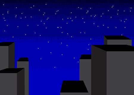 Comic book, Graphic novel Style Cartoon Night in the City with tall buildings.  イラスト・ベクター素材