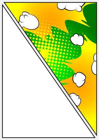 Comic book page illustration with half page colored comic graphic elements. Cartoon design colored background.  Vector comics backdrop.