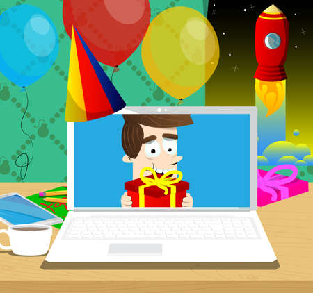 Boy sharing gift through a video call. Vector cartoon character illustration.