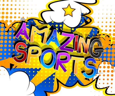 Amazing Sports Comic book style cartoon words on abstract comics background.