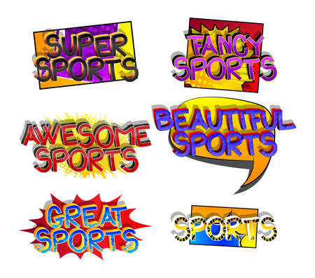 Sports Comic book style cartoon words on abstract comics background.