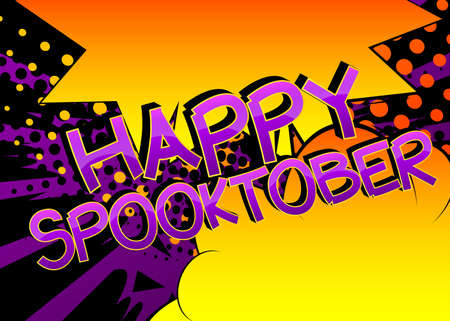 Happy Spooktober Comic book style cartoon words on abstract colorful comics background. 向量圖像