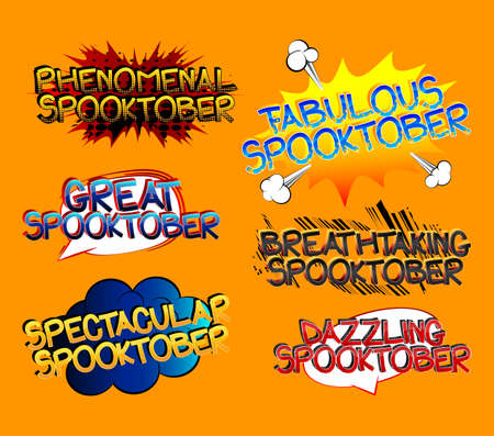 Spooktober Comic book style cartoon words on abstract colorful comics background. 向量圖像