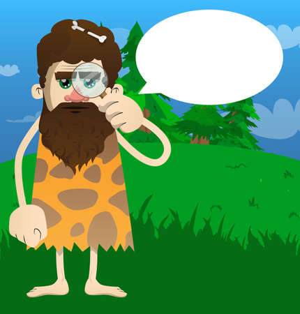 Cartoon caveman holding a magnifying glass. Vector illustration of a man from the stone age. 矢量图像