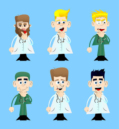 Funny cartoon doctor holding finger front of his mouth. Vector illustration. Vettoriali