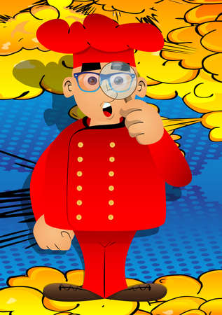 Fat male cartoon chef in uniform holding a magnifying glass. Vector illustration.