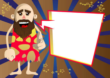 Cartoon caveman pointing at the viewer with his hand. Vector illustration of a man from the stone age.