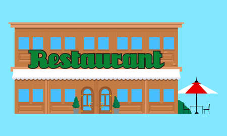 Restaurant front without people in town. Colorful graphic vector illustration in flat style.