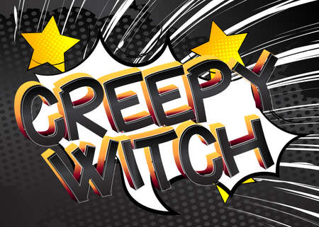 Creepy Witch Comic book style cartoon words on abstract colorful comics background.