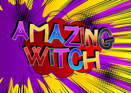 Amazing Witch Comic book style cartoon words on abstract colorful comics background. 矢量图像
