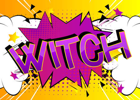 Witch Comic book style cartoon words on abstract colorful comics background. 矢量图像