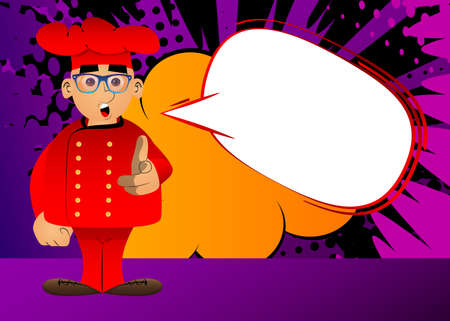 Fat male cartoon chef in uniform pointing at the viewer with his hand. Vector illustration.