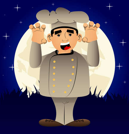 Fat male cartoon chef in uniform is trying to scare you. Vector illustration.