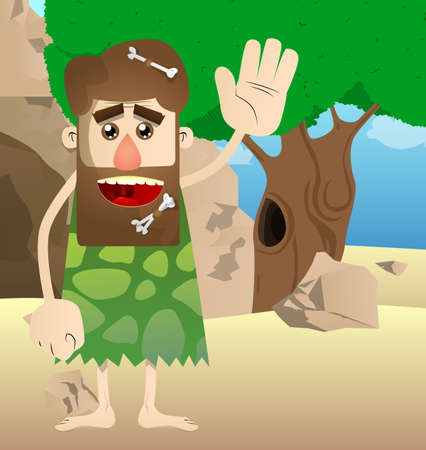 Cartoon caveman with waving hand. Vector illustration of a man from the stone age. 矢量图像
