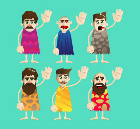 Cartoon caveman with waving hand. Vector illustration of a man from the stone age.
