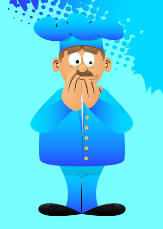 Fat male cartoon chef in uniform with hands over mouth. Vector illustration.