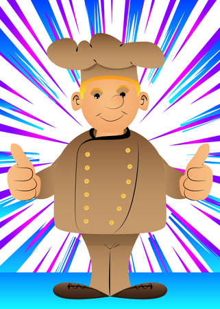 Fat male cartoon chef in uniform making thumbs up sign with two hands. Vector illustration.