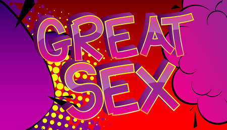 Great Sex Comic book style cartoon words on abstract colorful comics background. 向量圖像