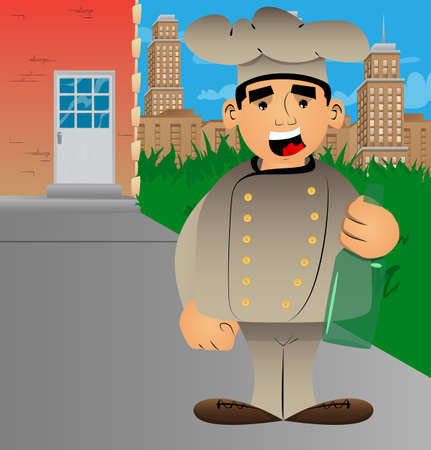 Fat male cartoon chef in uniform holding a bottle. Vector illustration.