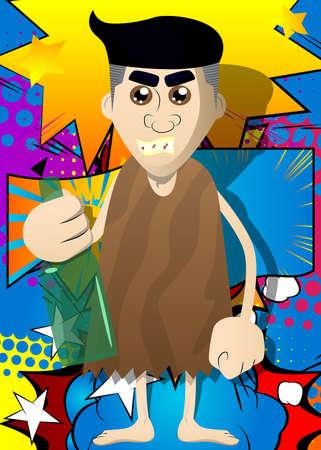 Cartoon caveman holding a bottle illustration Illustration