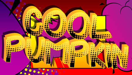 Cool Pumpkin Comic book style cartoon words on abstract colorful comics background. Standard-Bild