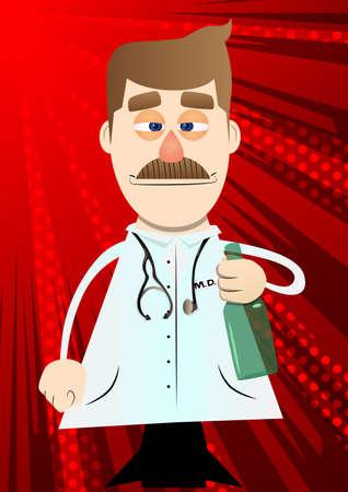 Funny cartoon doctor holding a bottle illustration