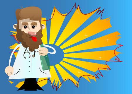 Funny cartoon doctor holding a bottle. Vector illustration.