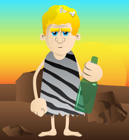 Cartoon caveman holding a bottle. Vector illustration of a man from the stone age.