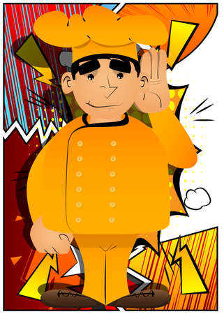 Fat male cartoon chef in uniform holds hand at his ear, listening. Vector illustration.