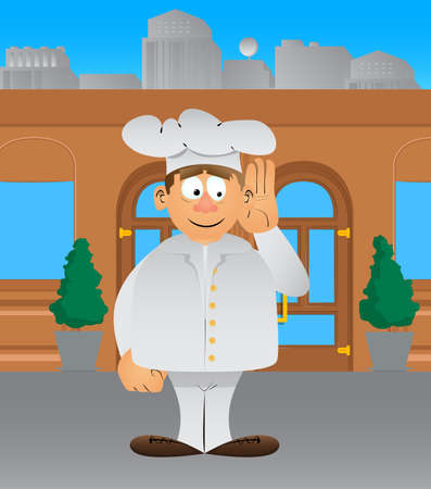Fat male cartoon chef in uniform holds hand at his ear, listening. Vector illustration. Stock Illustratie