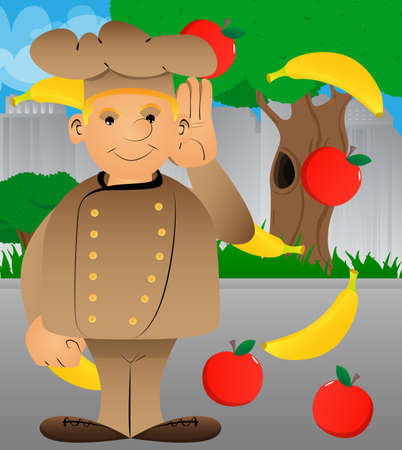 Fat male cartoon chef in uniform holds hand at his ear, listening. Vector illustration. Illustration