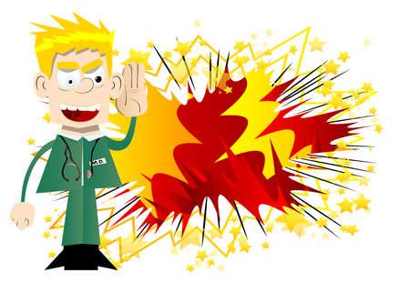 Funny cartoon doctor holds hand at his ear, listening. Vector illustration. Illustration