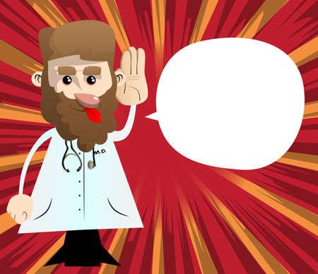 Funny cartoon doctor holds hand at his ear, listening. Vector illustration. Ilustracja