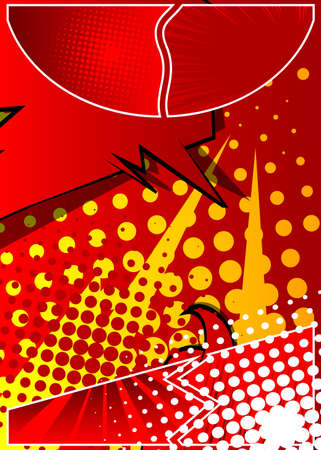 Cartoon design colored background. Vector comic book illustration. Comics backdrop for fashion sale social media post design. Abstract design for banners, covers of Illustration